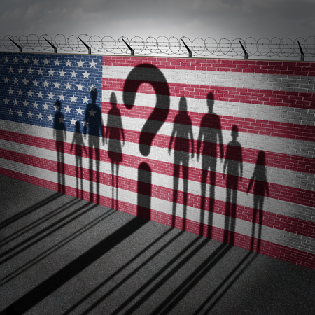 United States refugee question and immigration government policy as extreme vetting for banned newcomers in America as the cast shadow of international migrants on a wall with a US flag with 3D illustration elements. Stock Photo