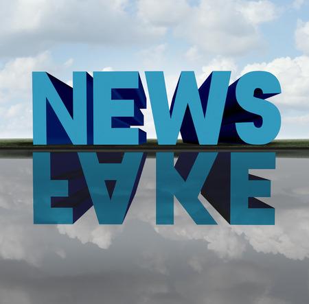 偽ニュースのコンセプトとメディアはデマ偽レポート メタファーと 3 D イラスト要素を持つ不正な偽情報として隠された議題の反射をキャストする