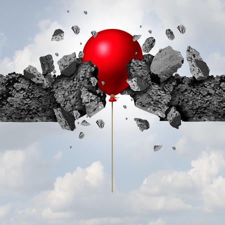 surreal: unexpected power and success as a red balloon breaking through a cement wall as a business achievement metaphor with 3D illustration elements.