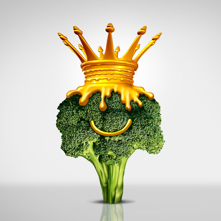 Cheese king food symbol as a steamed green broccoli vegetable with a smile and a crown made of melted cheddar as a delicious nutritious snack representing a tasty treat with 3D illustration elements.
