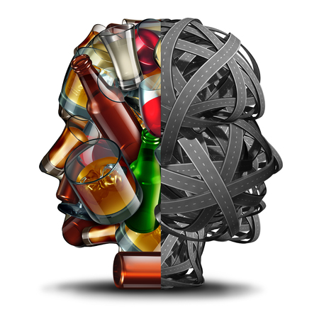 Drinking and driving and drunk driver concept under the influence of alcohol as a group of roads and alcoholic drinks in a head shape as a transportation safety issue as a 3D illustration.