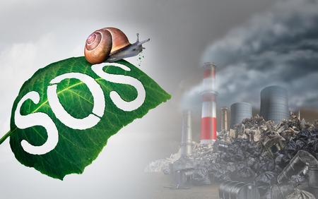 riesgo biologico: Concepto de emergencia ambiental como una hoja con SOS tallado en una hoja por un caracol como se ve en un terreno industrial tóxico contaminado como un símbolo de ecología y amenaza de la naturaleza con elementos de ilustración en 3D.