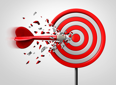Innovative goal strategy as a business success concept with a dart hitting the target sideways as a metaphor foran alternate route to achievement as a 3D illustration. 写真素材