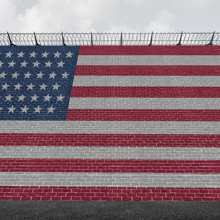 protectionism: American border wall concept as a security barricade with a flag of the United States as a customs and country boundary barrier with barbed wire as a symbol for illegal immigration control as a 3D illustration.