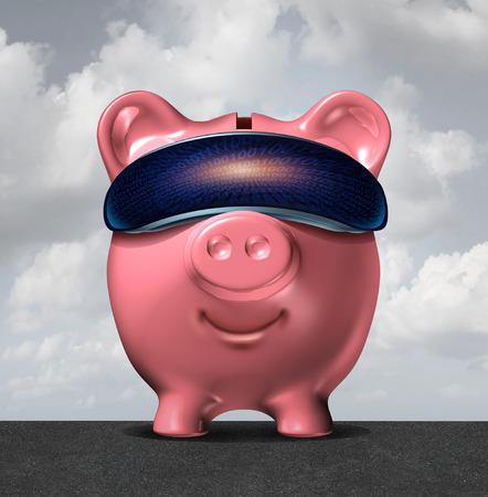 Virtual banking technology as a piggy bank wearing computer reality glasses as a financial internet technology and online savings and checking account as a 3D illustration.