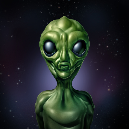Alien UFO character and extraterrestrial humanoid green creature sightings concept as a symbol for the search for intelligent life in the universe as a 3D illustration. Stock Photo