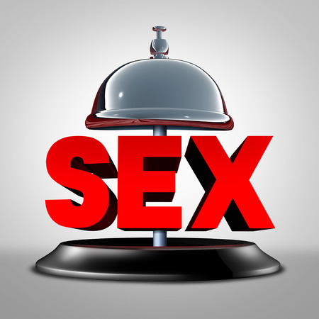 Sex service or erotic escort bell concept with red text and ringing object for sexual assistance or therapy and advice to help with physical passion in a relationship as a 3D illustration.
