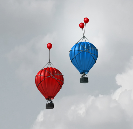 Improve innovation and increased business boost as a business competition metaphor with air balloon rising with one going higher due to more enhancement with 3D illustration elements.