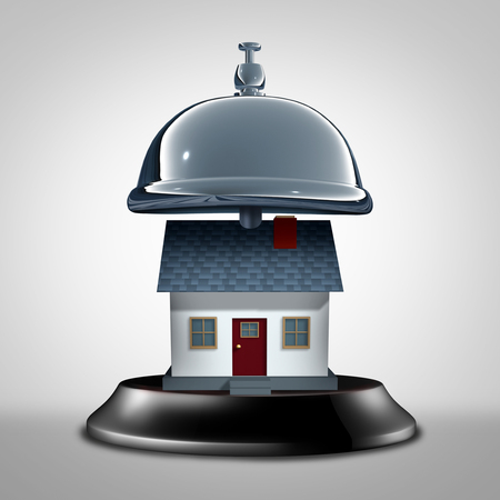 Home services symbol and residential care assistance as a service bell with a house as a maintanance and insurance assistance metaphor as a 3D illustration. Imagens