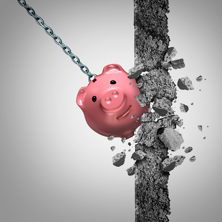Strong finances concept or breaking the bank metaphor and financial freedom symbol as a solid wrecking ball shaped as a savings piggy demolishing a wall of cement with 3D illustration elements.