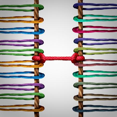 la union hace la fuerza: Conectado equipos concepto como dos grupos de cuerdas enlazadas y atados juntos como una metáfora de la mediación entre dos redes o la unidad de cooperación.