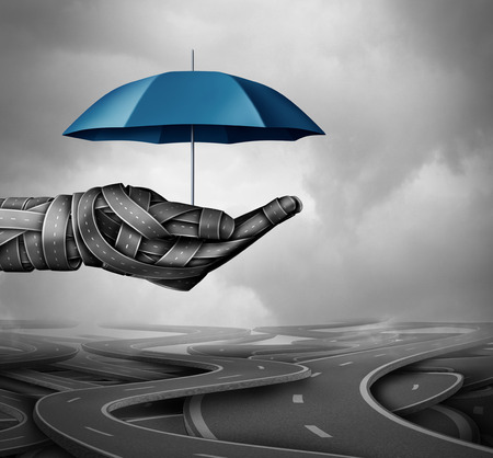 Road protection concept and accident prevention transportation system as a group of highway paths shaped as a human driver hand holding an umbrella as a symbol for auto pilot and self driving assistance as a 3D illustration. Stock Photo