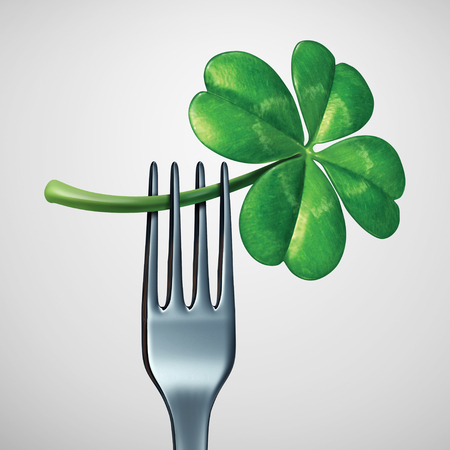 Saint Patrick day food symbol as a fork with a green four leaf shamrock clover as a traditional celtic meal symbol for Irish heritage dinner or eating in Ireland as a 3D illustration.