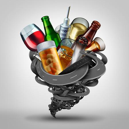 violación: Conducción bajo la influencia y el concepto de conductor dañado como un símbolo de DUI y DWI como un grupo de caminos en forma de un tornado con medicamentos recetados y recreativos como pastillas de cannabis y el alcohol como una ilustración 3D. Foto de archivo