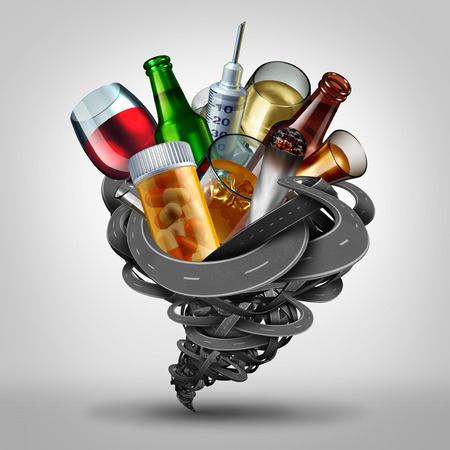 dwi: Driving under the influence and impaired driver concept as a symbol for DUI and DWI as a group of roads shaped as a tornado with prescription and recreational drugs as cannabis pills and alcohol as a 3D illustration. Stock Photo