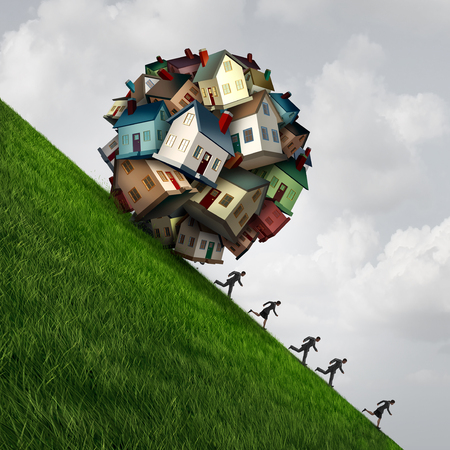 Real estate stress as a group of family homes shaped as a dangerous falling ball as a symbol for a housing or house construction industry problem with 3D illustration elements.