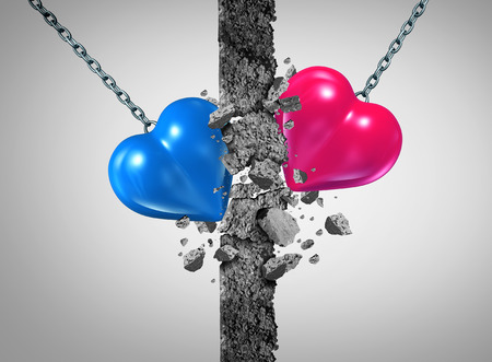 wife: Breaking a relationship wall and romantic couple challenge or marriage problems symbol as a blue and pink heart demolishing an obstacle to passioin success or saint valentines icon with 3D illustration elements.