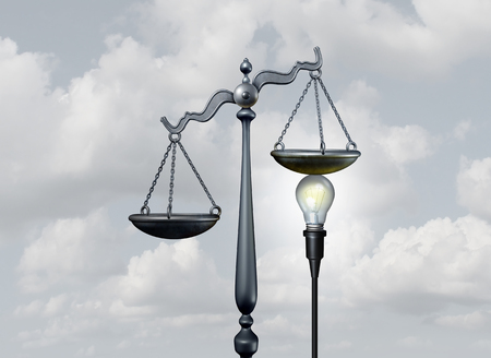 ruling: Legal ideas and creative justice concept as a bright light bulb tipping the scale of judgement as lawyer services or legislation metaphor or mediation and arbitration symbol as a 3D illustration.