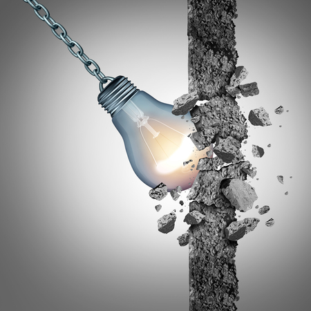 Idea breakthrough and the power to demolish an obstacle with creative thinking and innovative solutions as a light bulb shaped as a wrecking ball with 3D illustration elements. Foto de archivo