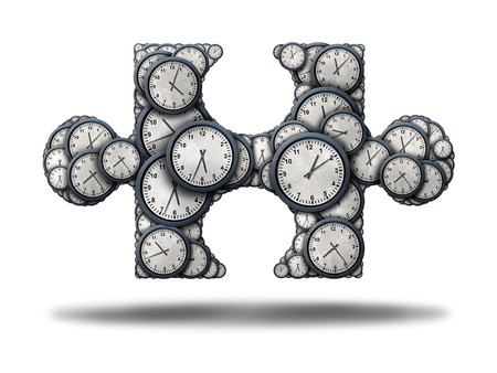 Time puzzle concept as a group of clock objects shaped as a jigsaw piece as a 3D illustration on a white background as a business symbol for schedule fit or assembling a work timeline solution.