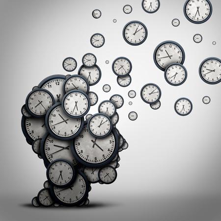 La planificación concepto de negocio de tiempo o perder minutos como un grupo de relojes o relojes en forma de una cabeza humana como símbolo de salud para la psicología o la programación de la presión y la demencia o pérdida y el envejecimiento como una ilustración 3D.