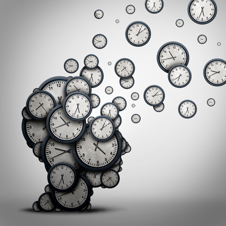 surreal: Planning time business concept or wasting minutes as a group of timepieces or clocks shaped as a human head as a health symbol for psychology or scheduling pressure and dementia or loss and aging as a 3D illustration.