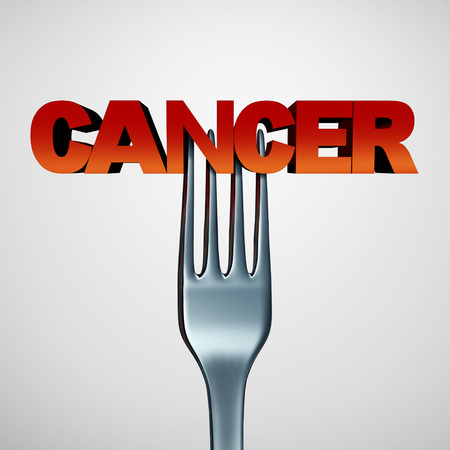 plunging: Cancer causing food concept as a medical symbol of the dangers of eating certain carcinogenic meals or eating ingredients contaminated with radiation as a fork plunging into text as a 3D illustration. Stock Photo