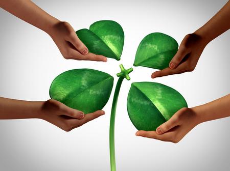 obra social: Conjunto de la fortuna como un grupo de manos de la diversidad que sostiene cuatro pétalos verdes separados de un trébol afortunado que se ata a un tronco central como una reunión social del día de fiesta de San Patricio o un símbolo de la cooperación del negocio con elementos de la ilustración 3D.