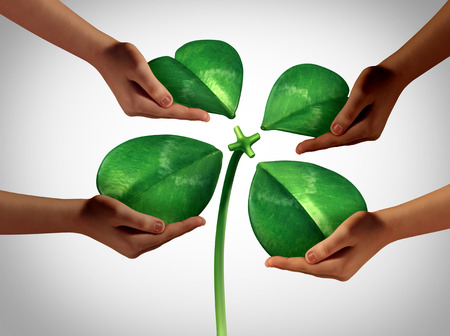 business meeting: Together creating fortune as a group of diversity hands holding four detached green petals of a lucky clover being attached to a central stem as a saint patrick holiday social gathering or a business cooperation symbol with 3D illustration elements. Stock Photo