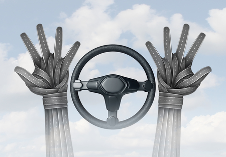 Self driving transportation and autonomous driving concept and driverless automobile symbol as a driver with hands made of roads off the steering wheel as a future intelligent transport technology as a 3D illustration. Stock Photo