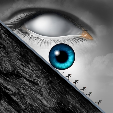 danger: Big brother concept as a surveillance and government monitoring symbol with a giant eye rolling down a cliff with society in fear of the danger from being syed upn and loss of privacy with 3D illustration elements.