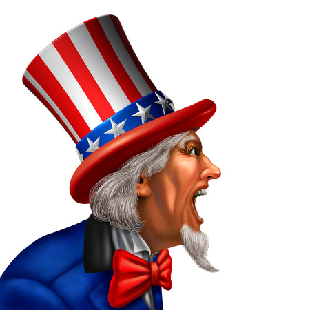 Uncle Sam in a side view yelling or talking on a white background as an American government character communicating a message on a white background with 3D illustration elements.