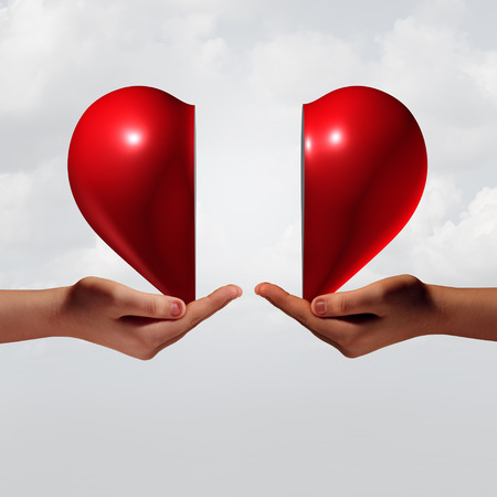 Love connection romance and relationship couple trouble concept as two human hands holding a valentine day heart that is divided as a symbol for emotional attraction or romantic crisis with 3D illustration elements. Stock Photo