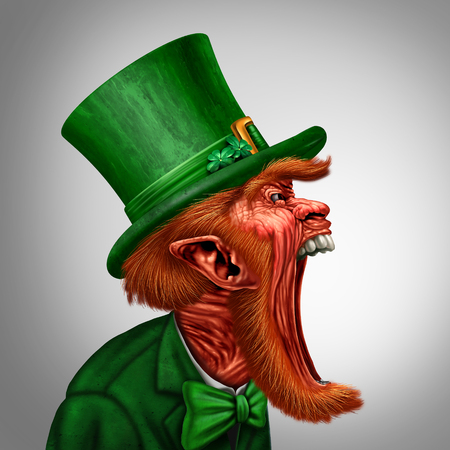 Leprechaun yelling out or communicating a Saint Patricks day message as an Irish magical elf character in an open mouth side view with 3D illustration elements. Stock Photo
