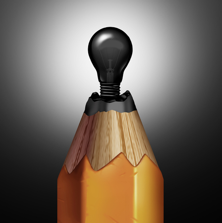Pencil light bulb idea as a creativity and creative innovation concep[t as a graphite  shaped as an electric sshinning object as a metaphor for invention and clever brainstorming as a 3D illustration.