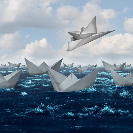 innovation concept: Innovative solutions and creative innovation concept as a paper boat being lifted up and taken away with an airplane as a competitive advantage in a 3D illustration style.