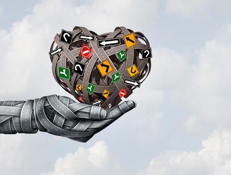 Liefde en de vreugde van de weg rijden als een concept voor transportveiligheid of leren rijden met een groep snelwegwegen in de vorm van een menselijke hand met een hart als 3D-illustratie. Stockfoto