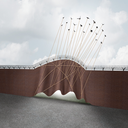 migrant: Open border concept as a brick wall being lifted up by a group of flying birds as a surreal idea for liberty and government policy on immigration and refugee claims with 3D illustration elements.