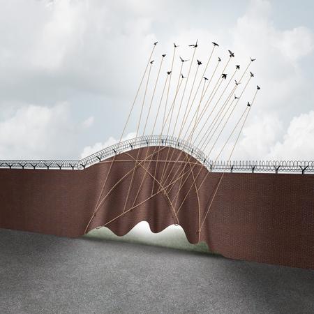 Open grensconcept als een bakstenen muur die door een groep vliegende vogels als een surrealistisch idee voor vrijheid en overheidsbeleid op immigratie en vluchtelingseisen met 3D illustratieelementen worden opgeheven.