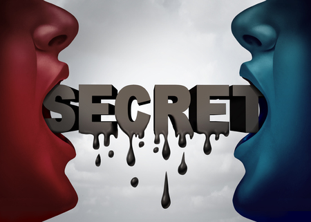 Classified confidential leak to the public concept and secret classified material leaked to the news media symbol as two people talking with text dripping down as a security breach icon with 3D illustration elements.