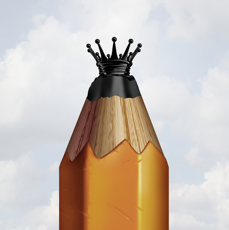 Pencil king concept and idea champion or innovation leader symbol as a pencil shaped as a royal crown as a business and education metaphor as a 3D illustration. Stock Photo