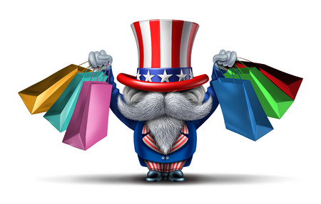 paying: American buyer or customer concept and shopping in the United States of America as an uncle sam consumer character holding bags from retail stores as a metaphor and economic prosperity symbol with 3D illustration elements. Stock Photo