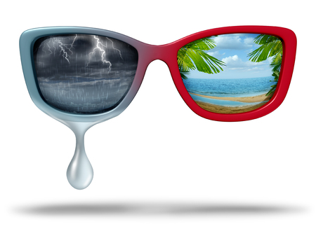 Mood swings and chemical imbalance as a psychological disorder as eye glasses with dark storm weather and another side a bright tropical beach scene with 3D illustration elements.