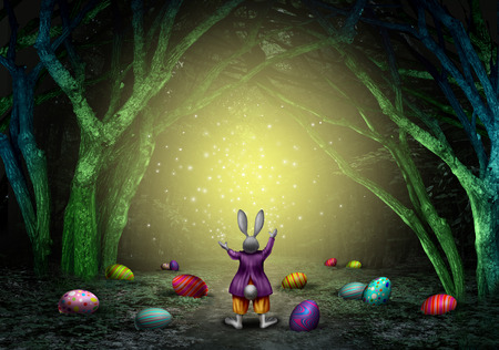 shine: Easter magic bunny rabbit with decorated eggs and sparkles in an enchanted magical forest as a spring holiday symbol with 3D illustration elements.