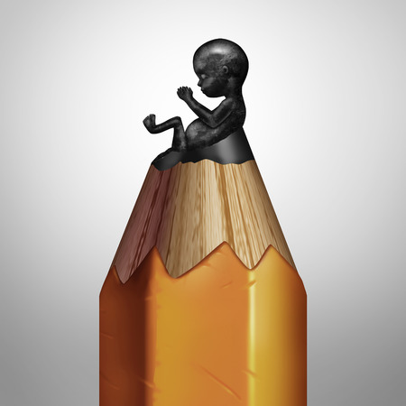 Pregnancy planning concept and having a family plan symbol as a pencil with a lead tip shaped as a human fetus as a medical metaphor for concieving or healthy birth advice or designer baby as a 3D illustration.