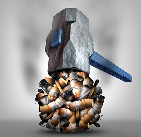 narcotic: Crushing cigarette concept and quitting or stop smoking tobacco habit symbol as a hammer destroying nicotine addiction products as a 3D illustration.