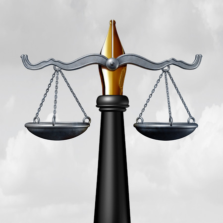 Writing law or legislation writer symbol as a pen and nib with a justice scale as a legal opinion symbol to legislate as a lawyer or judge and write laws as a 3D illustration. Imagens