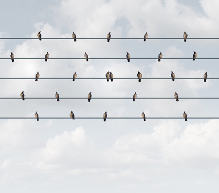 the intimacy: Online dating and connect with a partner concept as a group of birds on a wire with a loving couple bonded together as a metaphor for intimate connection in a relationship with 3D illustration elements. Stock Photo
