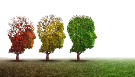 La demencia y el tratamiento de recuperación de la salud mental y la memoria del cerebro Alzheimer concepto de terapia de la enfermedad como los árboles viejos que se recuperan como la neurología y la psiquiatría o la psicología cura la metáfora con elementos de ilustración 3D sobre un fondo blanco.