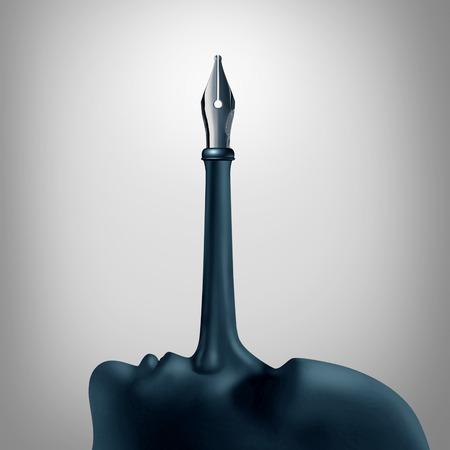 Concept publicitaire False comme un symbole de confiance d'un long nez pinocchio d'un menteur avec une pointe stylo plume comme une métaphore de la désinformation ou l'écriture de fiction avec des éléments d'illustration 3D. Banque d'images - 72998685